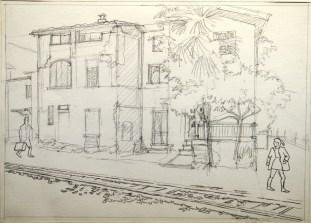Ponte Tresa Sketch - Pencil/paper - 7 x 10 inches