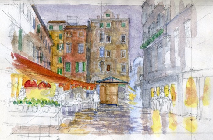 Venice Sketch - Watercolor - 5 x 7 inches