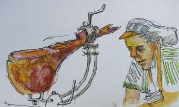Jamonera - Watercolor - 3 x 6 inches