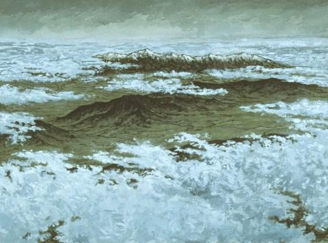 Range Beneath Clouds - Acrylic/masonite - 11 x 15 inches