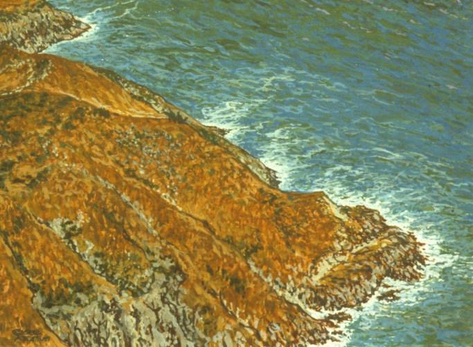 Sea Cliffs - Acrylic/masonite - 11 x 15 inches