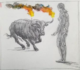 Toro Embolado Study - Pencil/watercolor - 7 x 11 inches