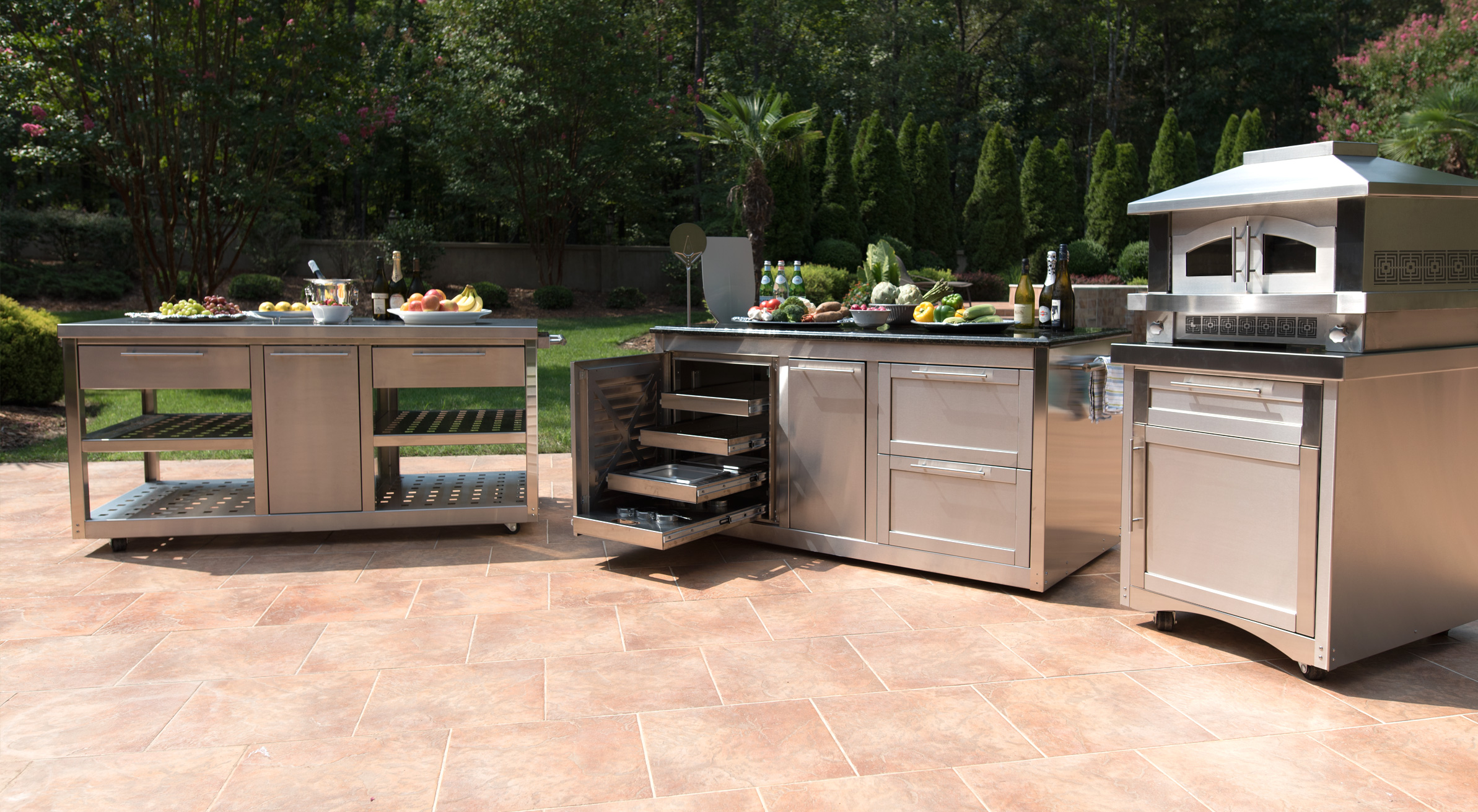 stainless steel outdoor kitchen white tile cabinets john michael