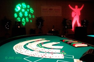 a black jack table at a corporate event