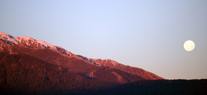Sunset and Moon rise over Mt Bogong