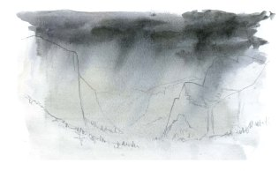 Add more layers of clouds and rain, maintaining the angle of the paper.