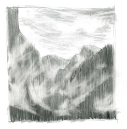 Use the kneaded eraser to flick out areas of graphite, creating the effect of rising mist.