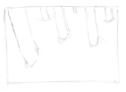 Start with a light pencil drawing of your subject. Here the trunks of aspen trees in the snow. Notice that as the trees move emerge further in the background, they are both narrower and higher in the picture plane (closer to the top).