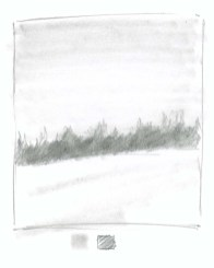"Using a blending tool such as a paper stomp, smudge the trees to reduce their texture (pushing them further into the background) and use the graphite now picked up on the blender to ""paint"" the sky and add a few shadows in the snow."