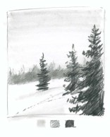 Want your snow to look white? Add something really dark for contrast. Here I push the value of the foreground trees. Note that these trees are primarily scribbles with a little detail added to the top.