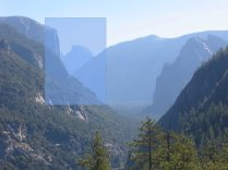 Here I was drawn the the silhouette of half dome next to the cliff face of El Capitan.