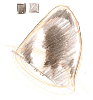 Define the shapes of the light areas in the ear by adding a mid tone. This may seem counterintuitive. You do not draw the light area, but you create it by the shape of the mid tone. Note the pale edge around the rim of the ear.