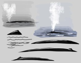 You could leave it as a line drawing or add tone. Here I start the tone with a graded wash around the whale shape.