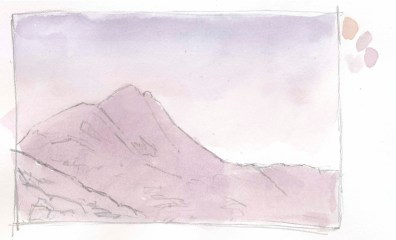 The sky is a purple graded wash. The mountain is underpainted with purple and pink.