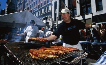 Big Apple BBQ in Madison Square Park every summer. Thousands of people gather around to chow on some of the country's best 'cue