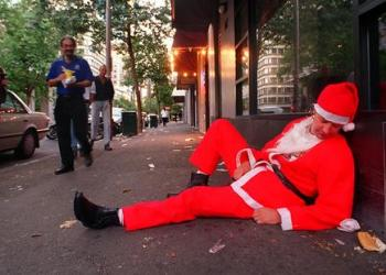 A weary Santa the morning after an all-night pub crawl.