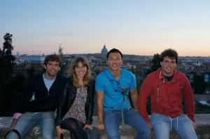 Taking in a great view of the city from the top of the Spanish Steps.