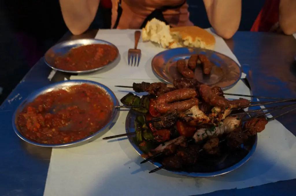 Sampling the local fare Jemaa El Fna