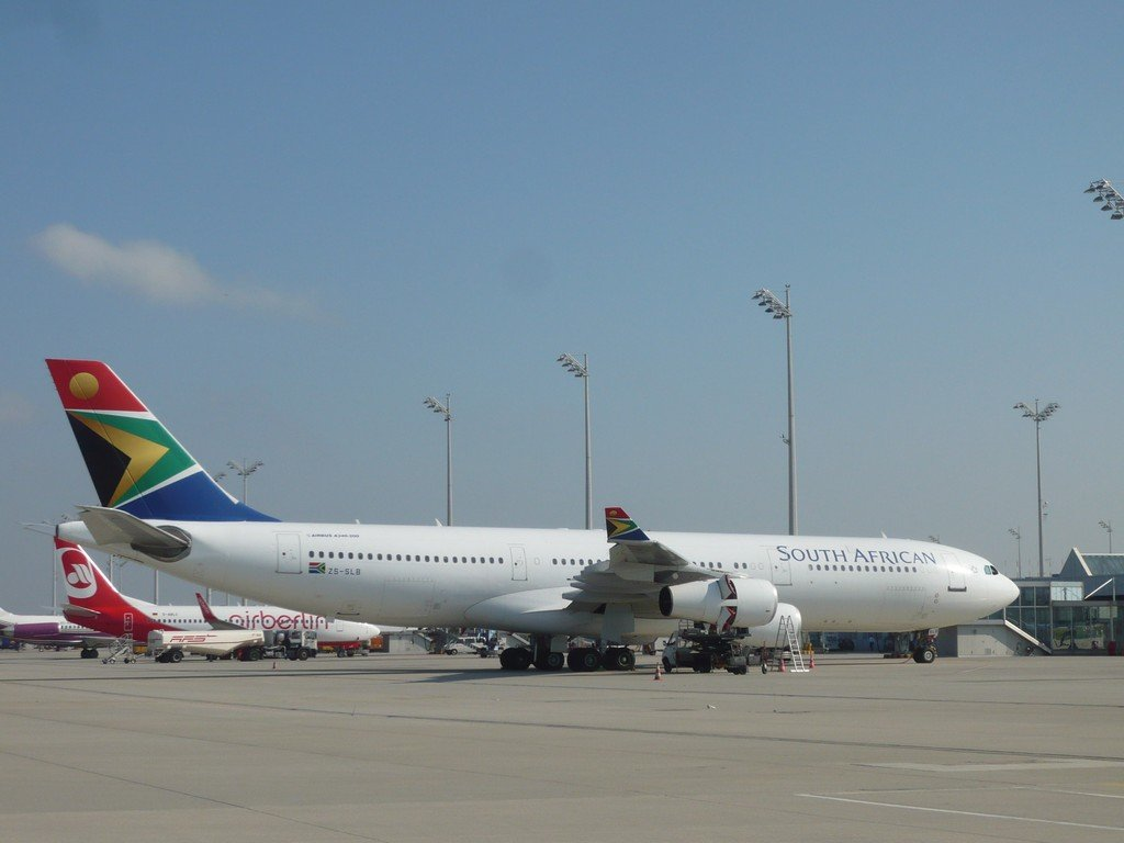 The SA Airways Jet. Only airline that flies direct from the US to SA.
