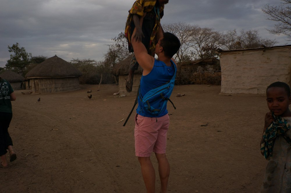 Playing with the Masai kids.