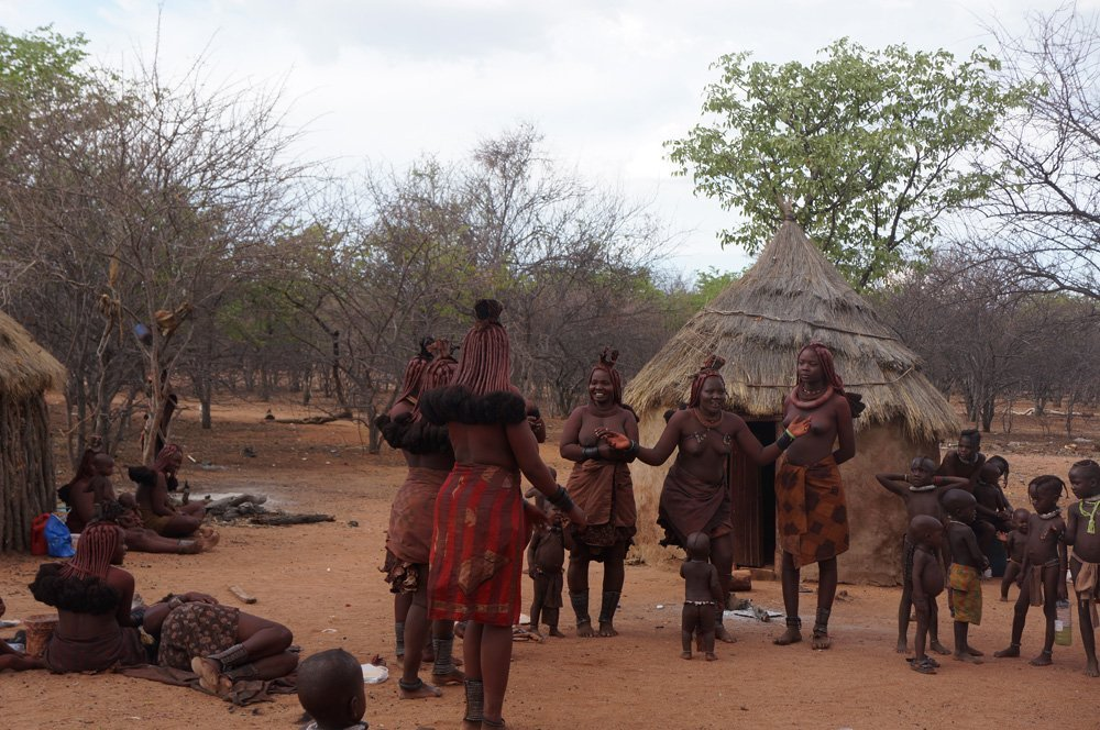 Himba women doing a traditional dance.