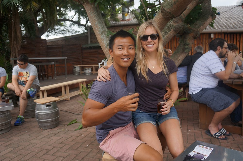 Enjoying some Mitchell's beer at their brewery in Knysna!