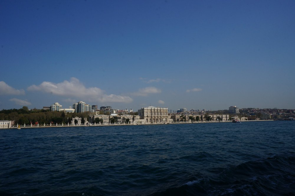 View of the Dolmabahce Palace from our Bosphorus ferry