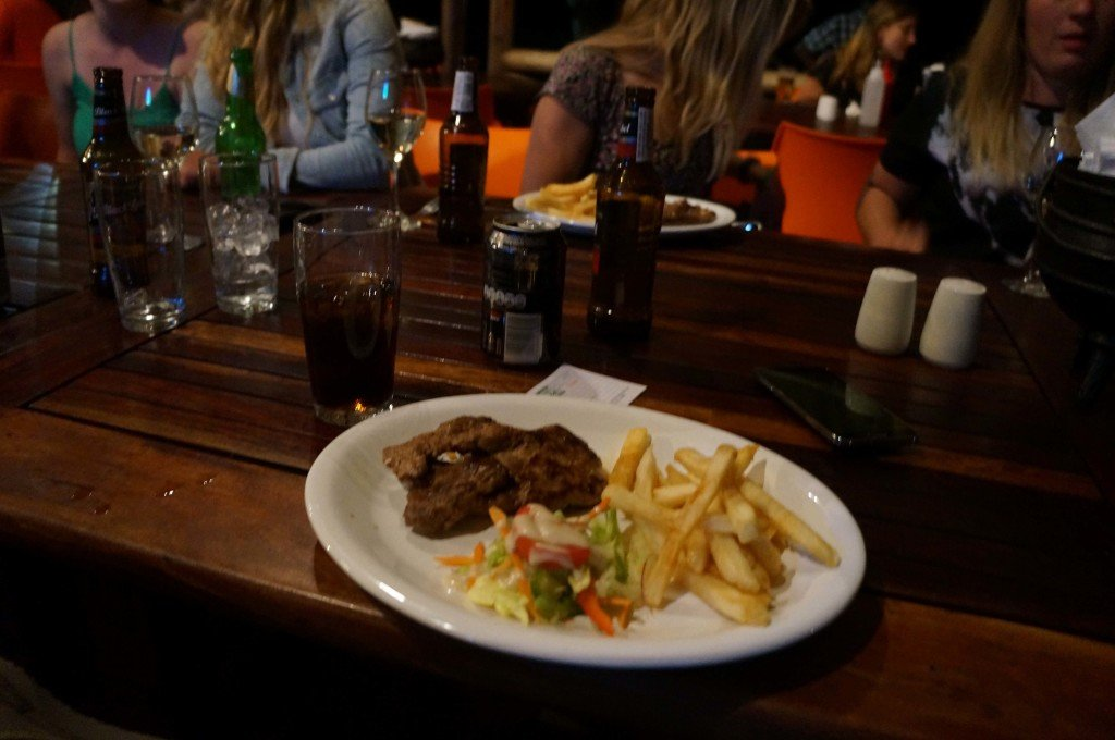 Chowing down some Warthog loin at our campsite's restaurant, In da Belly.