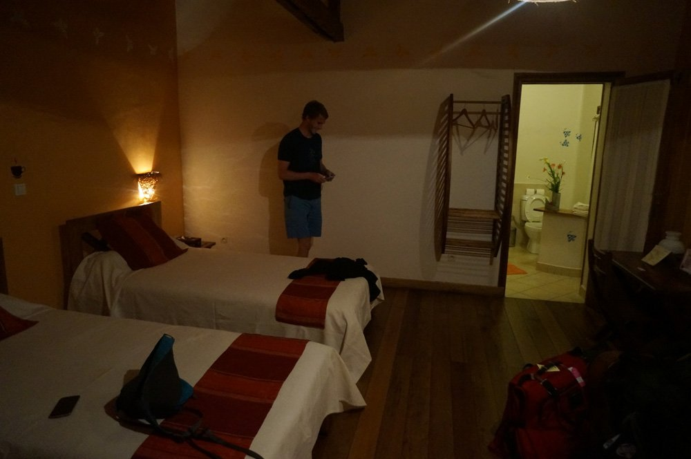 Our room at the Couleur Cafe. Most of the hotels we stayed at in Madagascar were in and around this level