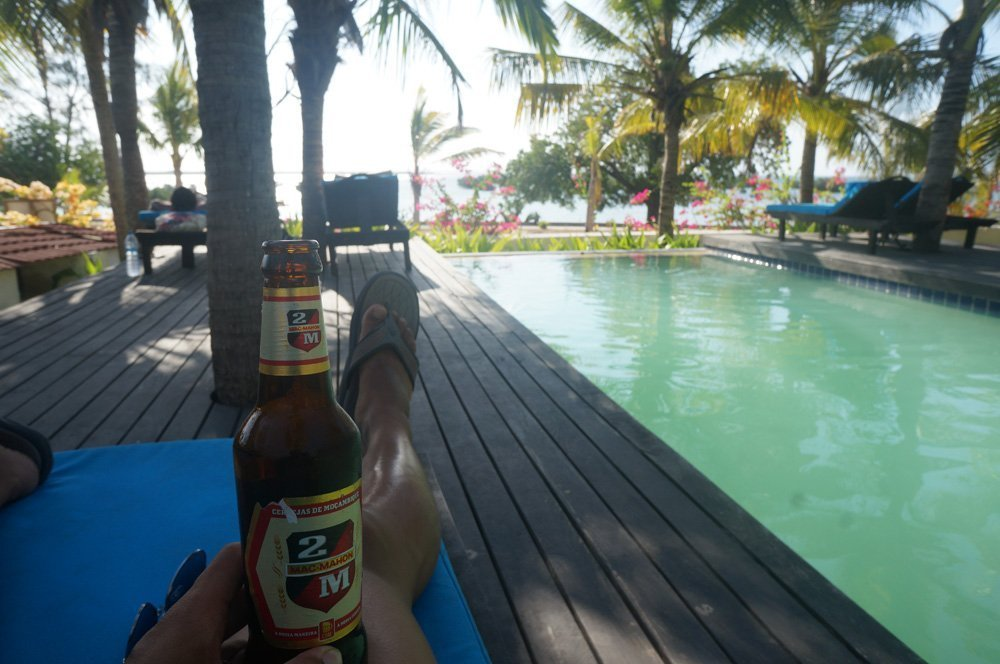 Enjoying a nice refreshing 2M (Mozambique's national beer) at the Ibo Lodge