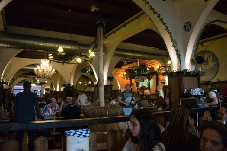 The inside of a relatively calm night as I'm told at Hofbrauhaus Berlin