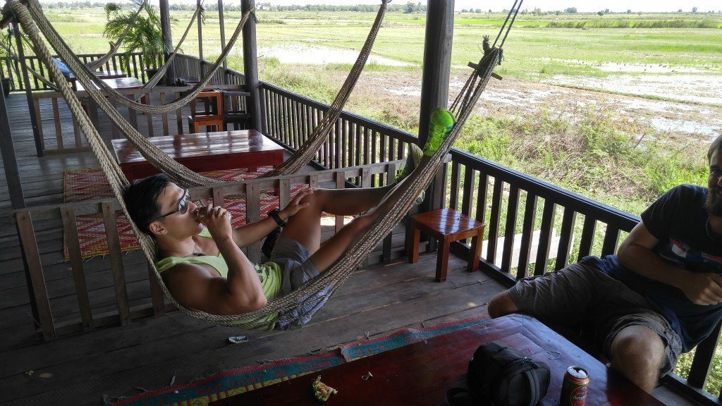 Driving towards the floating villages and I saw this awesome bar with hammocks overlooking the rice paddies.