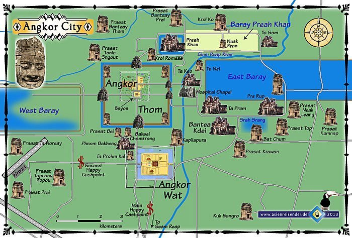 Map of Angkor Wat. More or less, you'll enter in through Angkor Wat, and follow the road to Angkor Thom, head east through the smaller temples, and exit via Angkor Wat.