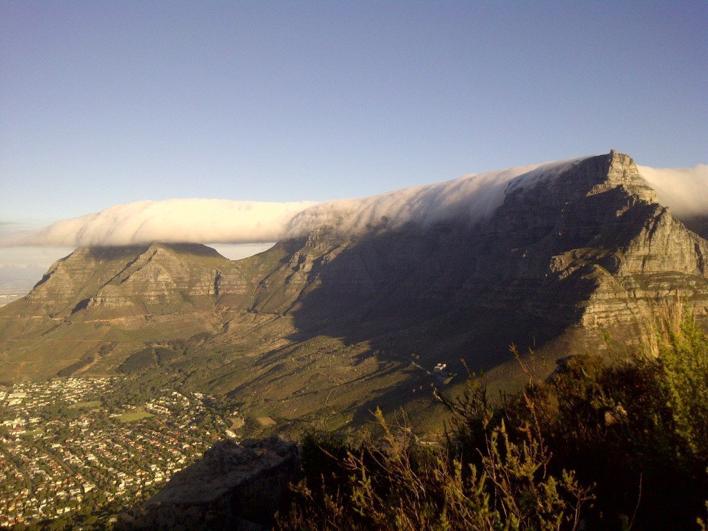 table mountain with clouds