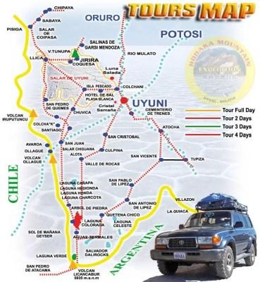 Salt flat tour map