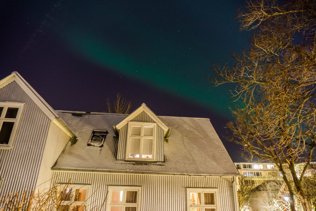 watching the northern lights from apartment in reykjavik