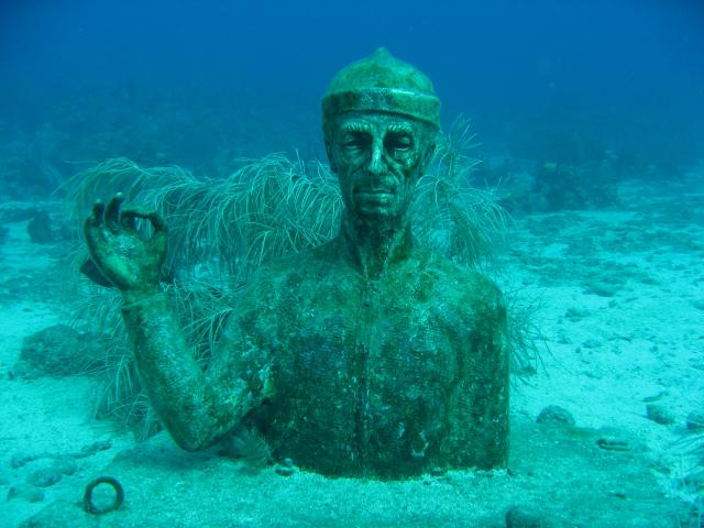 cousteau statue in guadeloupe