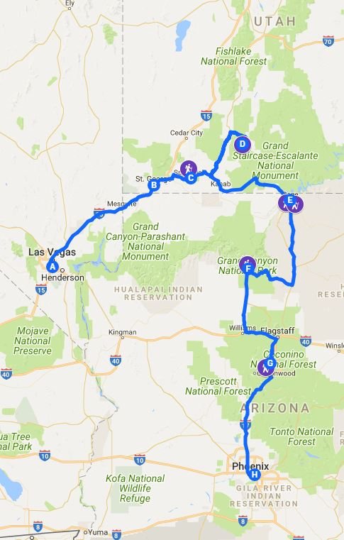 Map Of Arizona And Grand Canyon.The Perfect 5 Day Itinerary For Zion Bryce Grand Canyon And
