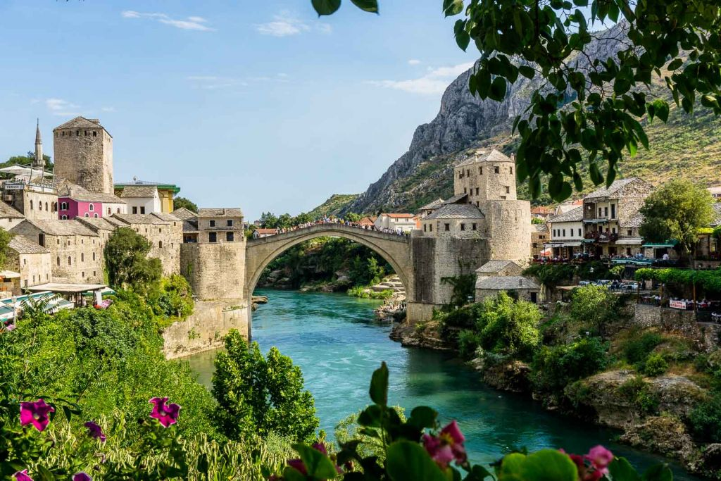 Urban grill view old bridge mostar