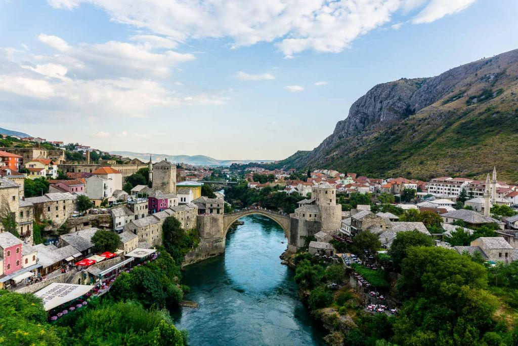 View of Mostar old bridge mosque