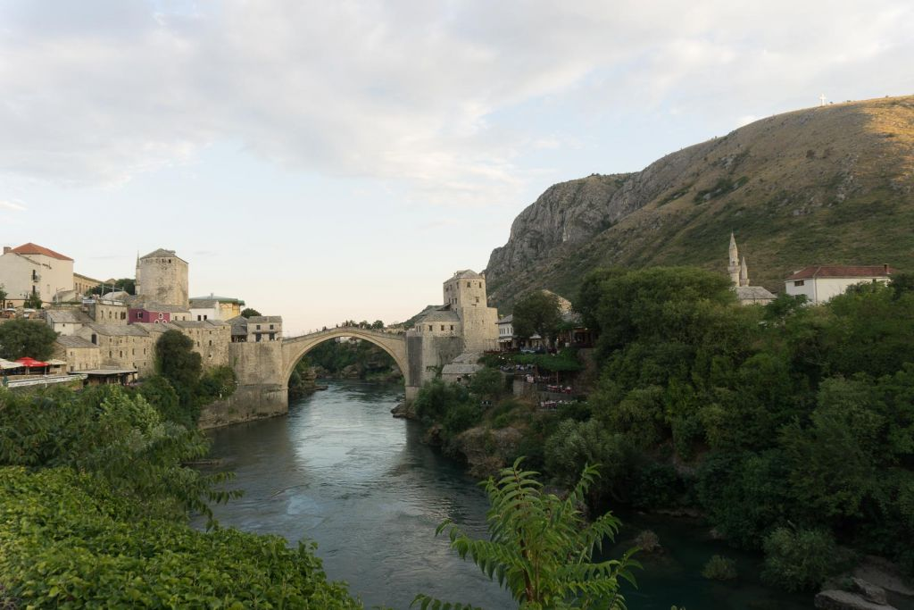 Stari Most old bridge sunset Mostar Koski Mehmed-Pasha Mosque