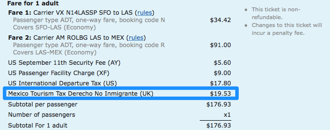 Mexico airplane ticket tourism tax immigration