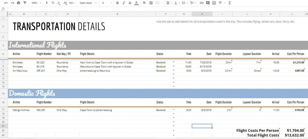 spreadsheet travel excel itinerary vacation planning