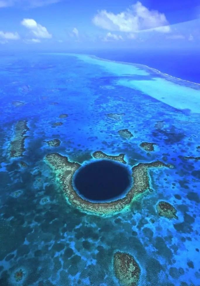 blue hole aerial shot belize