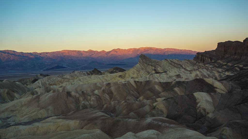 Sunrise over Zabriskie Point Death Valley