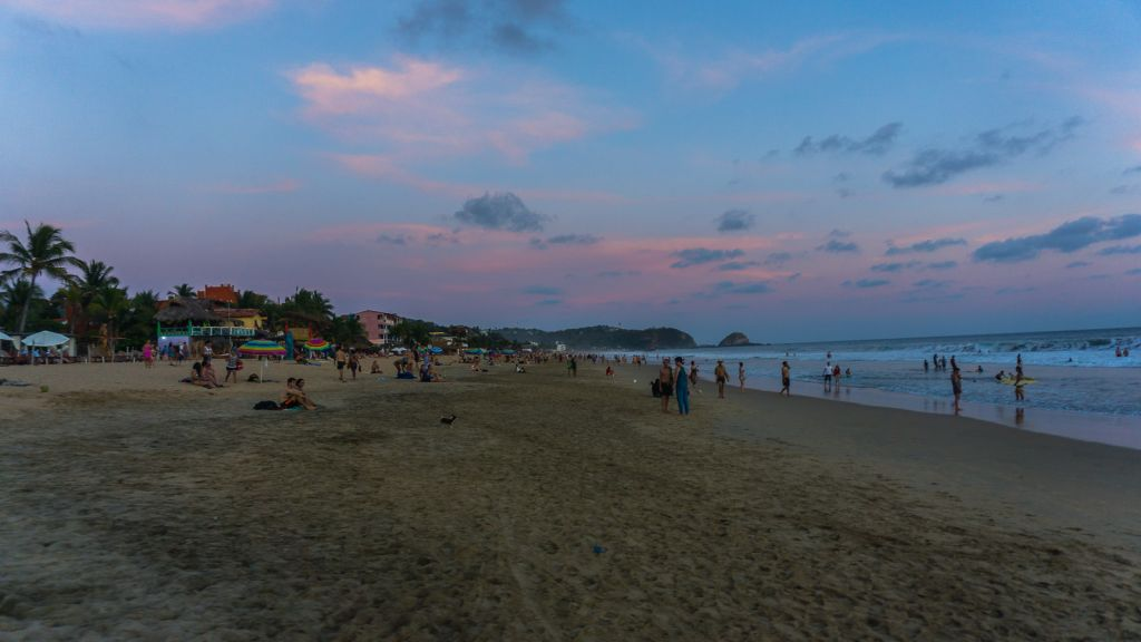 zipolite beach mexico oaxaca sunset