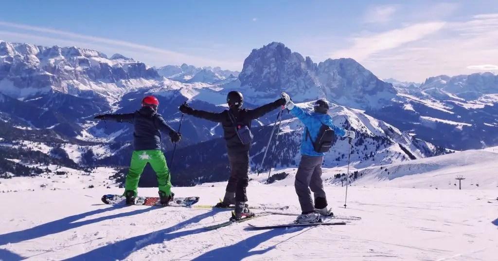 Dolomites superski Skiing Italy Col Raiser val gardena sunny side seceda