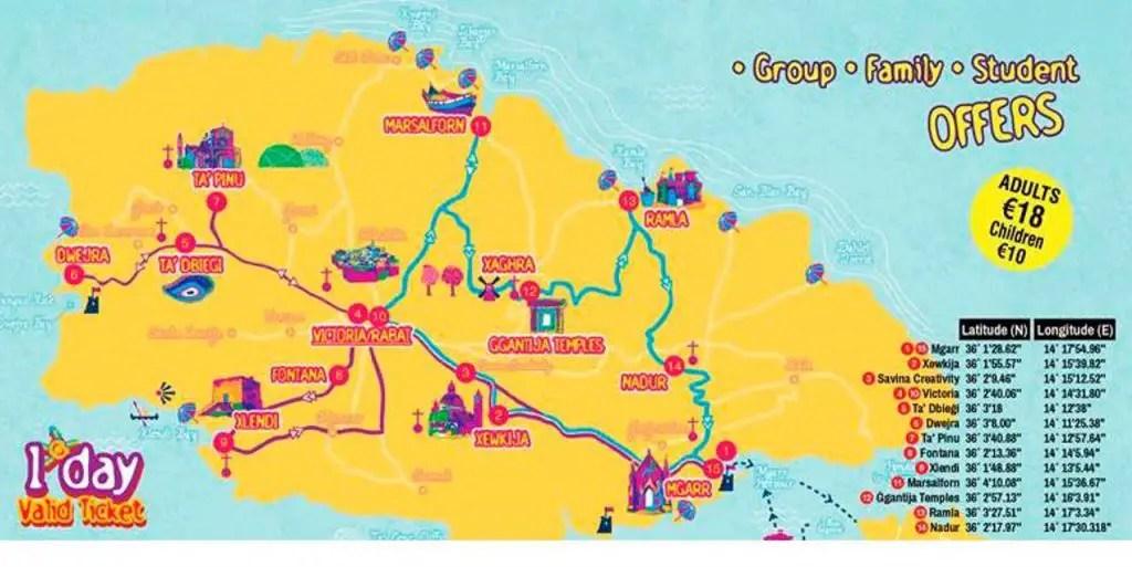 Gozo hop on hop off bus map