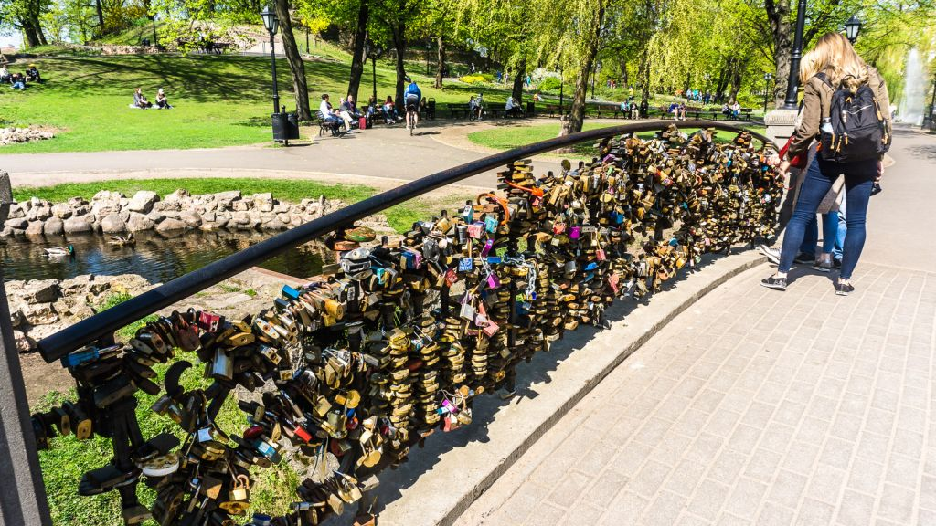 The Love Lock bridge in Riga