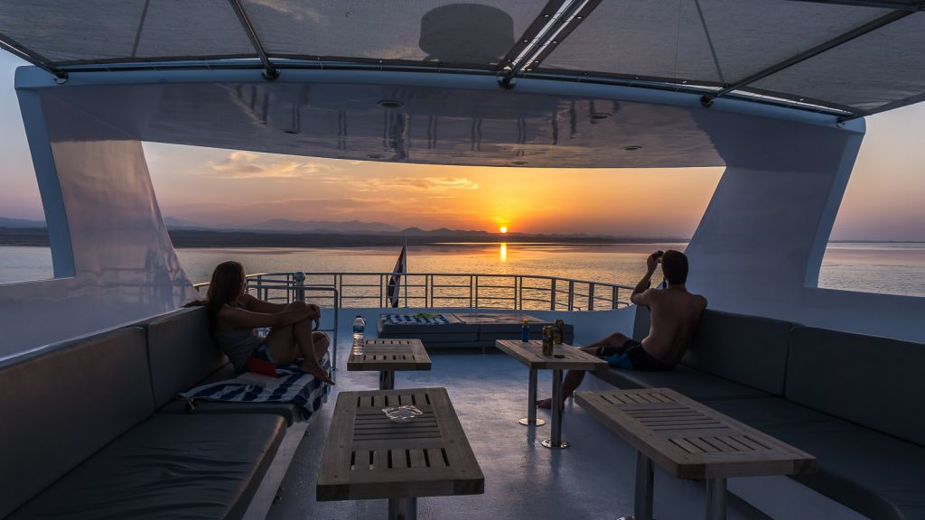 Sunset views off the boat samira discovery liveaboard egypt